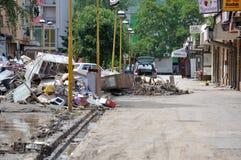 Ville inondée de Bosnie-Herzégovine Ville de Maglaj Images libres de droits