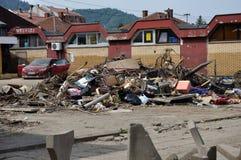 Ville inondée de Bosnie-Herzégovine Ville de Maglaj Photo libre de droits