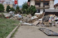 Ville inondée de Bosnie-Herzégovine Ville de Maglaj Images stock