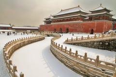 Ville interdite couverte par neige à PÉKIN Images libres de droits