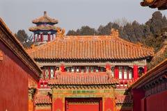 Ville interdite par toits en pierre Pékin de jaune de porte Image libre de droits