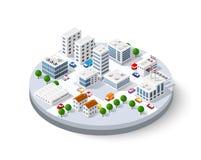 Ville isométrique avec des gratte-ciel illustration stock
