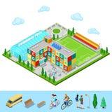 Ville isométrique Bâtiment scolaire avec la piscine et l'au sol de football illustration stock