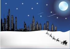 Ville la nuit de Christmass Image libre de droits