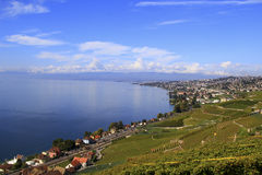 Ville le long du lac, Suisse Image stock