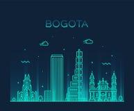 Ville linéaire de vecteur à la mode de la Colombie d'horizon de Bogota Photographie stock libre de droits