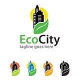 Ville Logo Template Design Vector d'Eco Image libre de droits