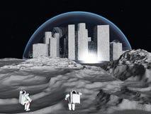 Ville lunaire illustration de vecteur