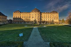 Ville médiévale de jour ensoleillé d'hiver de l'Allemagne de la Bavière de résidence de rzburg de ¼ de WÃ en février image stock