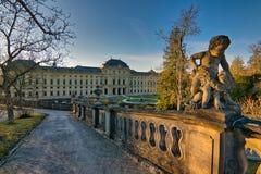Ville médiévale de jour ensoleillé d'hiver de l'Allemagne de la Bavière de résidence de rzburg de ¼ de WÃ en février photo stock