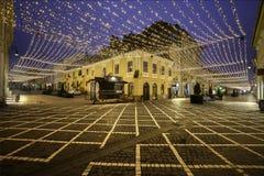 Ville médiévale historique de Brasov, la Transylvanie, Roumanie 6 janvier 2016 Images libres de droits