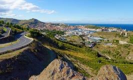 Ville méditerranéenne de port Vendres Photographie stock libre de droits