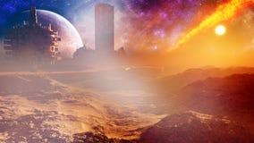 Ville majestueuse de désert d'imagination avec la tour Image stock