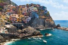 Ville MANAROLA, parc national Cinque Terre, Ligurie, Italie Images stock