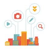 Ville moderne d'illustration plate de style avec des icônes d'activit quotidien illustration stock