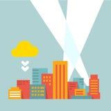 Ville moderne d'illustration plate de style dans les rayons de la lumière lumineux illustration de vecteur