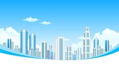 Ville moderne neuve en nuages illustration de vecteur