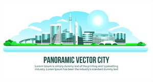 Ville moderne panoramique neigeuse du verre et du béton Avec des maisons, des bâtiments, passage supérieur ou pont, et des arbres illustration de vecteur