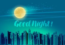 Ville moderne, paysage urbain panoramique Bonne nuit, marquant avec des lettres l'illustration de vecteur illustration de vecteur