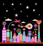 Ville moderne sous le ciel étoilé illustration libre de droits