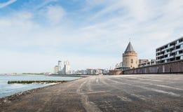 Ville néerlandaise du rinçage vue de la côte de te photos libres de droits