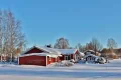 Ville nella città della chiesa di Gammelstad Fotografie Stock Libere da Diritti