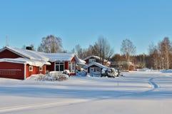 Ville nella città della chiesa di Gammelstad Immagini Stock Libere da Diritti