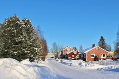 Ville nella città della chiesa di Gammelstad Fotografia Stock