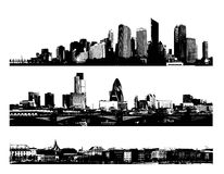 Ville noire et blanche de panorama Photos stock