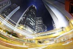 Ville. Nuit de Hong Kong. Photographie stock libre de droits