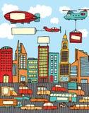 Ville occupée de bande dessinée illustration de vecteur