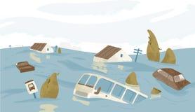 Ville ou ville inondée Chambres, voitures, arbres, panneaux routiers submergés Bâtiments et automobiles couverts avec de l'eau no illustration stock