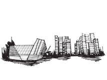 Ville panoramique de Singapour de croquis de dessin de carte blanche illustration de vecteur