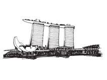Ville panoramique de Singapour de croquis de dessin de carte blanche illustration libre de droits