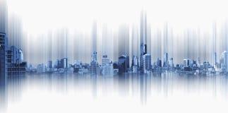 Ville panoramique sur le fond noir, connexion de ville de technologie photographie stock libre de droits