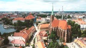 Ville polonaise célèbre Wroclaw banque de vidéos