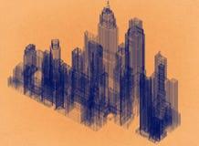 Ville - rétro architecte Blueprint illustration stock