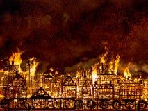 Ville R-U de Londres du feu Photo stock