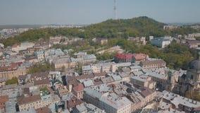 Ville a?rienne Lviv, Ukraine Ville europ?enne Secteurs populaires de la ville dominicain banque de vidéos