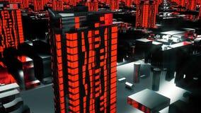 Ville rouge futuriste cybernétique 3d bâtiments, gratte-ciel dans le style de technologie images stock