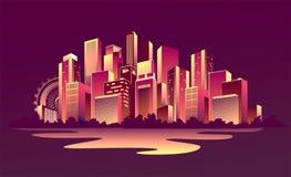 Ville rougeoyante abstraite Photo libre de droits