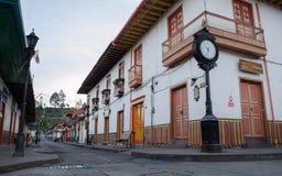 Ville rustique de fron de vue de rue de Salento, Colombie photos libres de droits