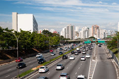 Ville Sao Paulo d'avenue du trafic Photos stock