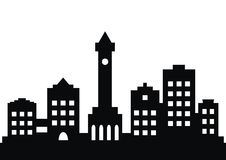 Ville, silhouette noire illustration stock
