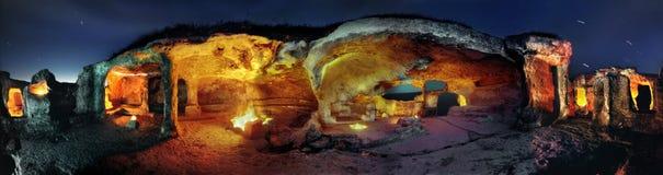Ville spelaean antique Eski-Kermen sur une péninsule Crimée Images libres de droits