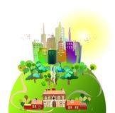 Ville sur l'illustration de collines vertes illustration libre de droits