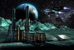 Ville sur la lune Image libre de droits