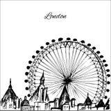 Ville tirée par la main de Londres avec la roue Photo libre de droits