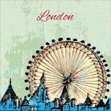 Ville tirée par la main de Londres avec la roue Photos stock