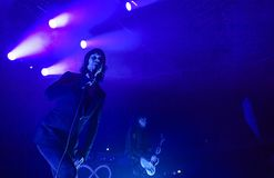 Ville Valo of rock band HIM. Ville Valo, the lead singer and frontman of HIM. The Finnish rock band HIM has their final concert at Helldone Festival held at the Stock Photo